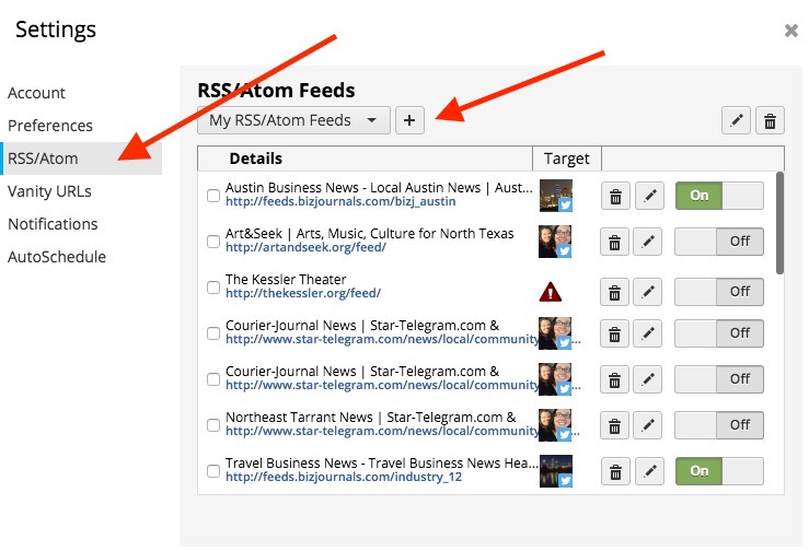 Hootsuite RSS feature