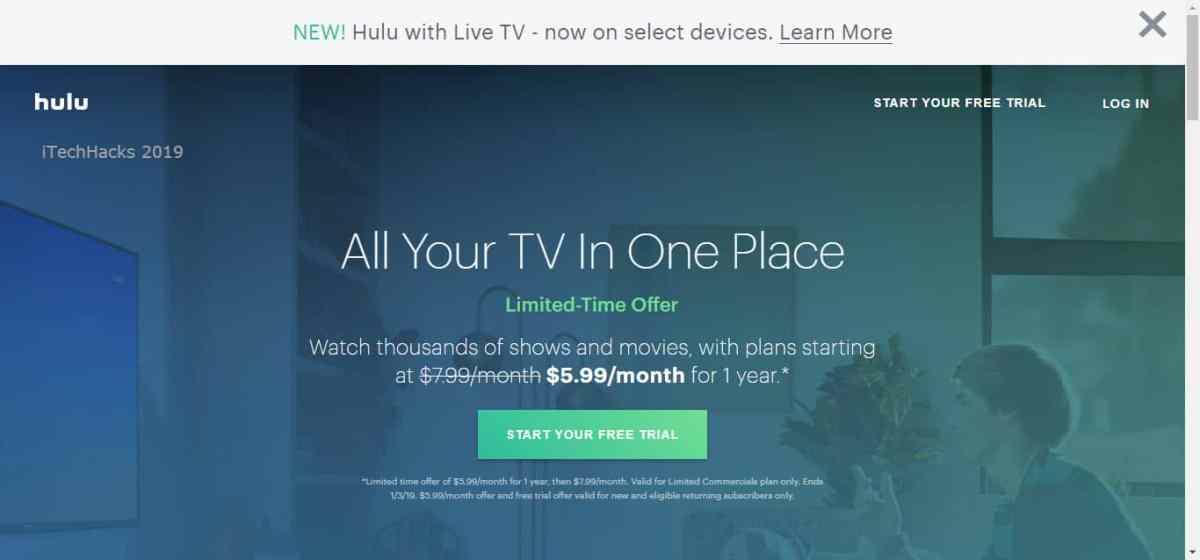 Activate Hulu 30-days Premium Trail Pack