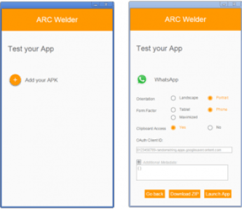 run android apps in chrome using Arc Welder