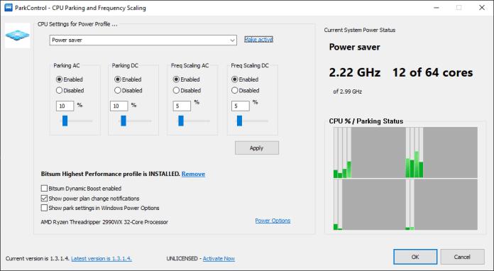 CPU Unparking Utility