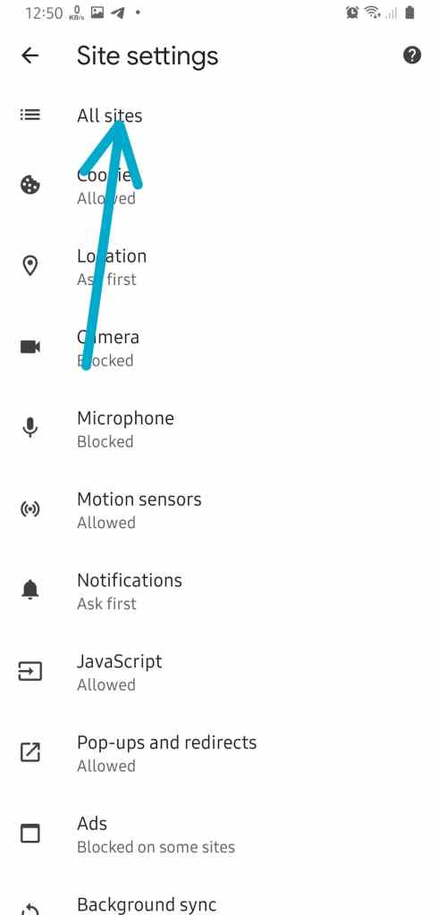 Clear Chrome Site Data Android