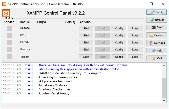 xampp control panel windows-10
