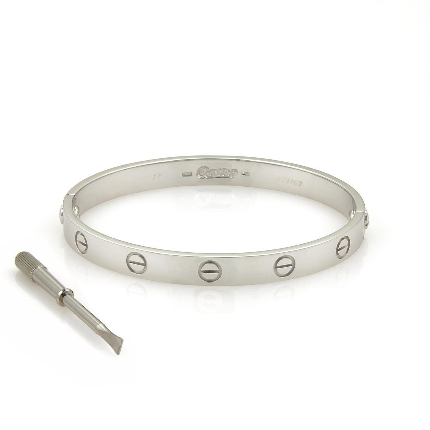 Cartier 21062  Love 18k White Gold Bangle W Paper Size 17 Bracelet     Cartier Love 18k White Gold Bangle w Paper Size 17