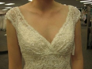David's Bridal All Over Beaded Lace Trumpet Gown Style
