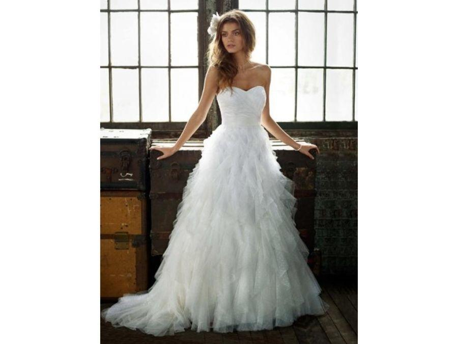 David's Bridal Galina Strapless Dot Tulle Ball Gown With