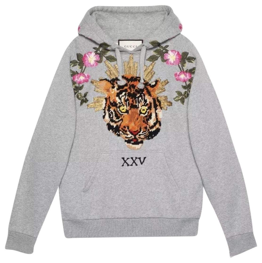 c806766ac700b Gucci Grey Tiger Embroidered Sweatshirt hoodie Size 12 (L) Tradesy