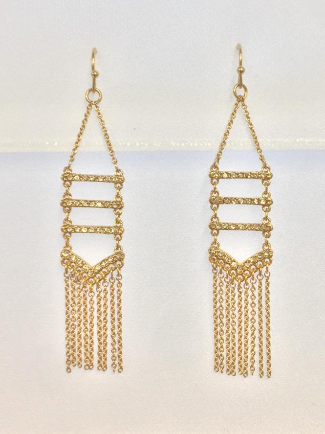 Rebecca Minkoff Gold Pave Crystal And Fringe Chandelier Earrings