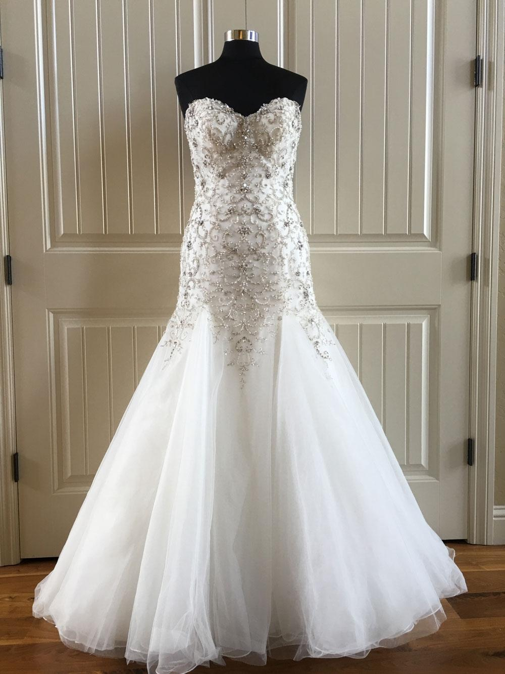 Maggie Sottero Ivory Pewter Accent Tulle Beaded Sasha