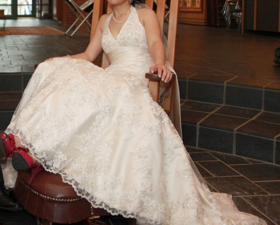 Oleg Cassini All Over Lace A-line Gown With Obi Sash Style