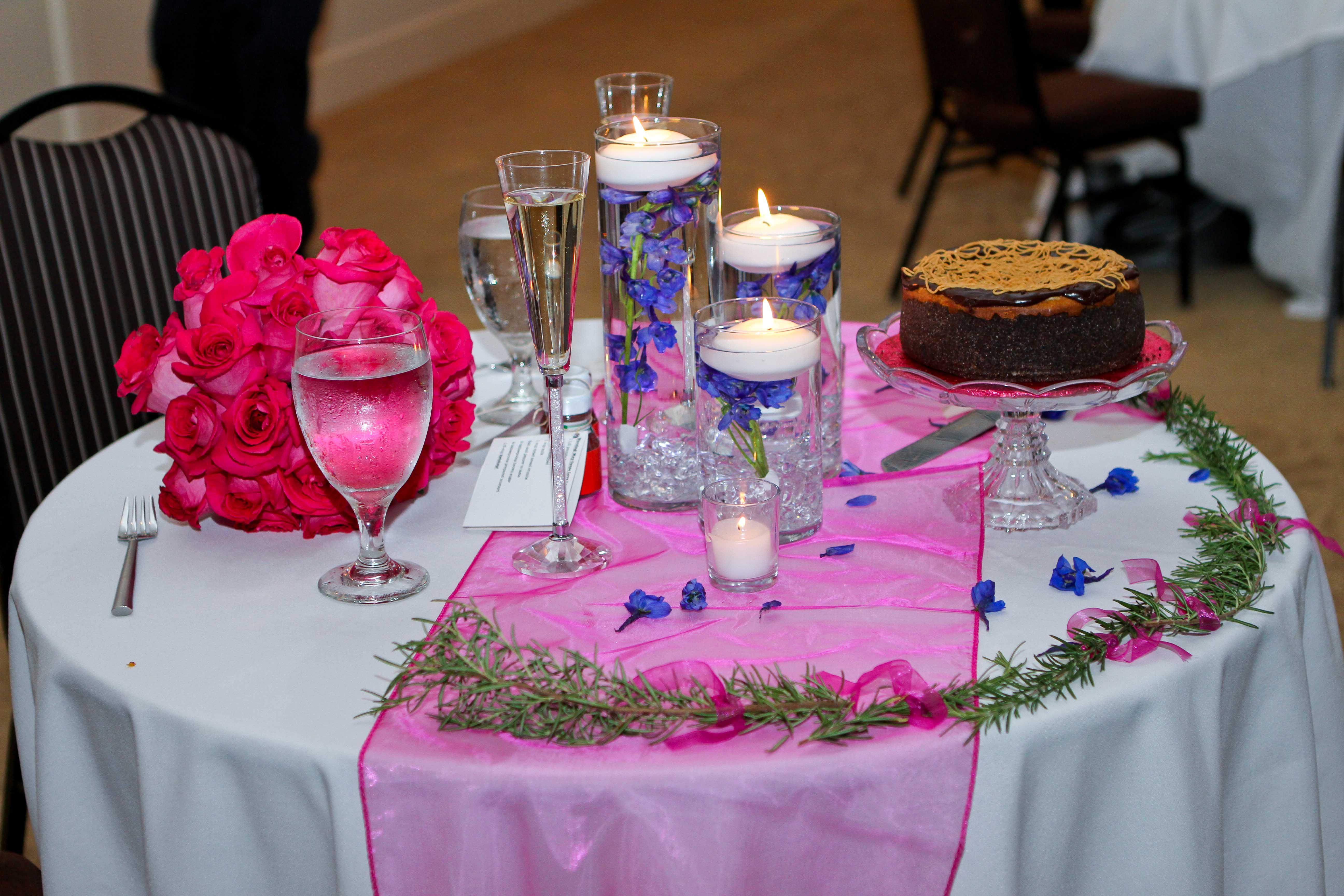 Centerpieces For Pink And Navy Blue Wedding 125 Guests