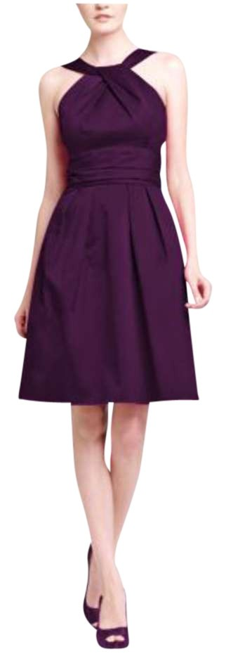 David s Bridal Plum Short Cotton with Y neck and Skirt Pleating     David s Bridal Y neck Purple Bridesmaid Knee Length Dress