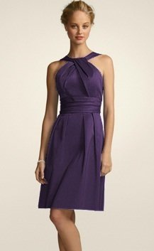 David s Bridal Purple Cotton Short Y neck and Skirt Pleating Formal     David s Bridal Purple Cotton Short Y neck and Skirt Pleating Formal  Bridesmaid Mob Dress