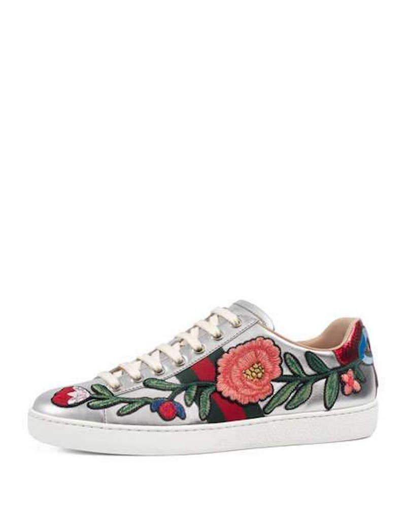a4a7b13d3ee Gucci Silver Ace Metallic Red Floral Embroidered Leather Flat