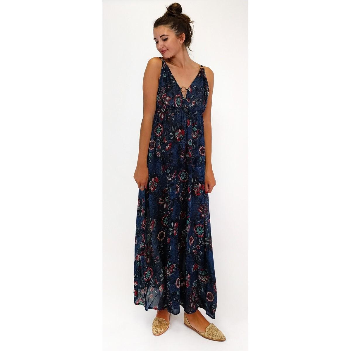 En Crme Blue Bringing The Rings Floral Long Casual Maxi