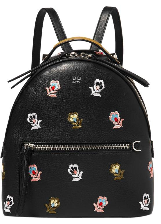857ac7bca Fendi With Floral Detail Black Textured Leather Backpack Tradesy