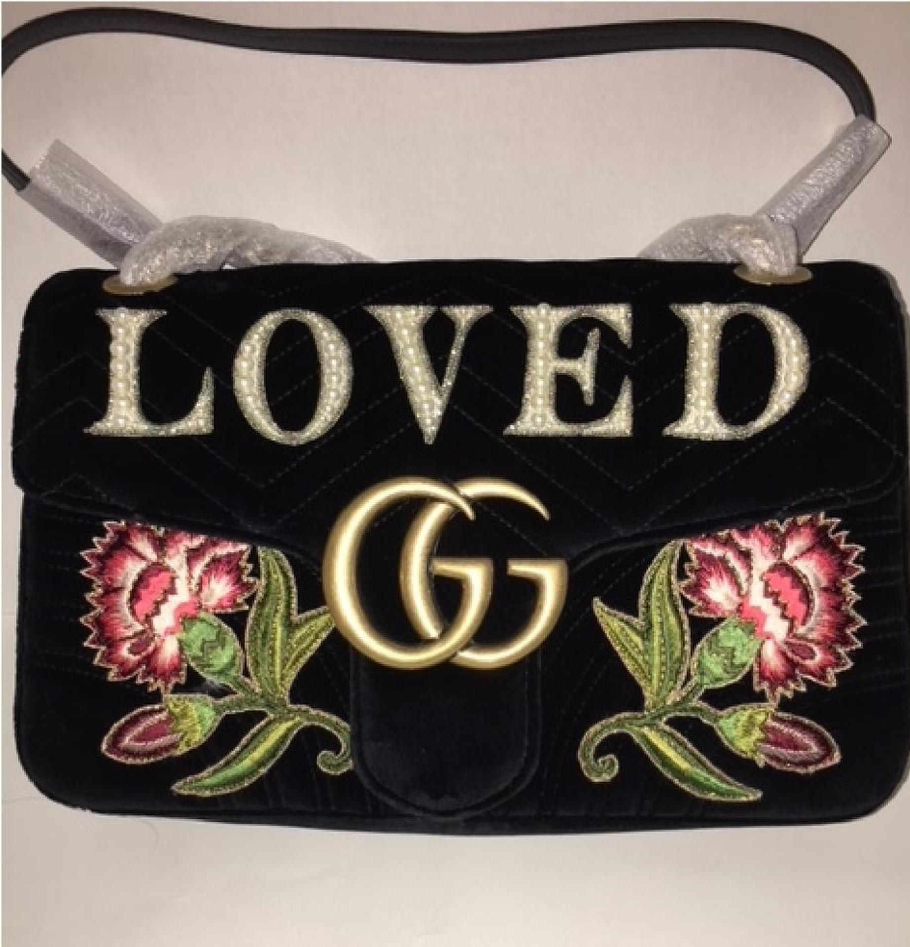 0000acf8f6b0 Gucci Marmont Gg Loved Floral Embroidered Velvet Shoulder Bag Tradesy