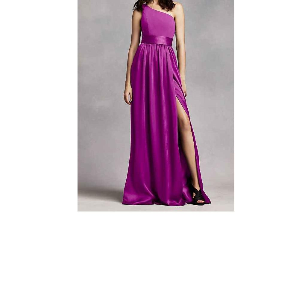 White by Vera Wang Fuchsia Purple Satin Bridesmaid David s Bridal     White by Vera Wang Fuchsia Purple Satin Bridesmaid David s Bridal Vw360215  Traditional Wedding Dress Size 2