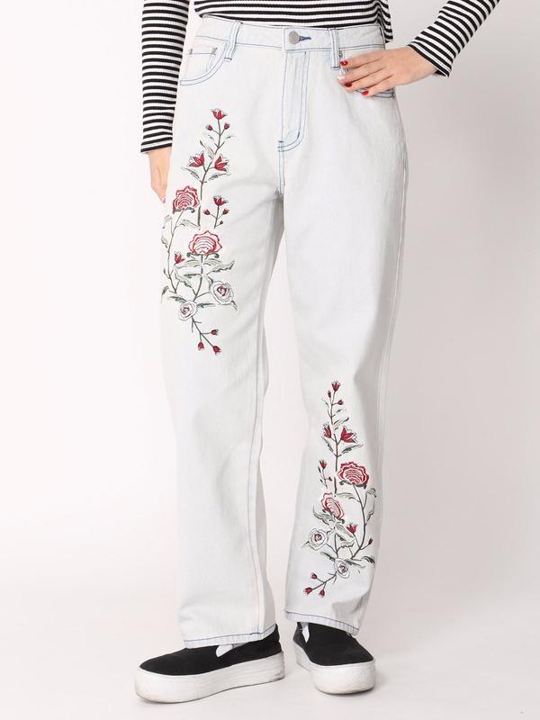 WEGO/デニム刺繍テーパードパンツ(デニム淡加工色)