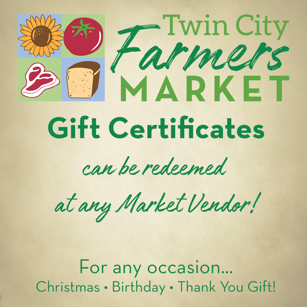 Gift Certificate for Twin City Farmers Market