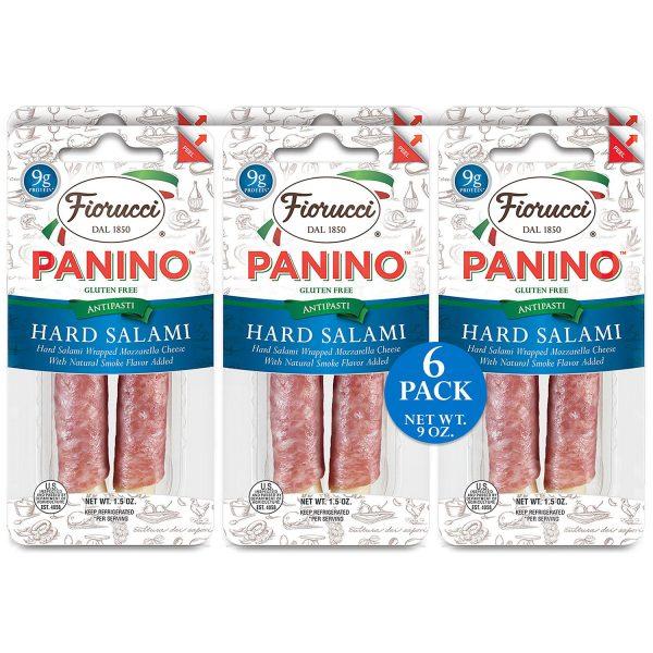 Queso Mozzarella, Envuelto En Salami Duro, Fiorucci Panino, 6 (Paquetes)