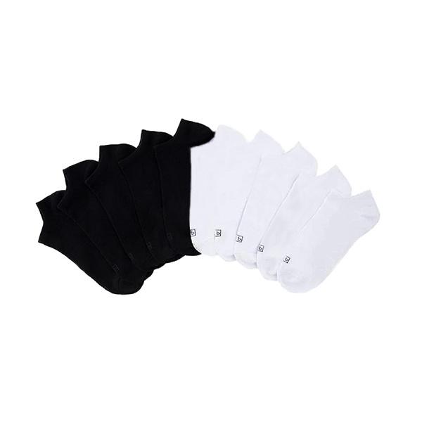 Paquete De Medias Tobilleras Surtidas Blanco Y Negro, Talla 4 – 10, K. Bell (10 Pares).