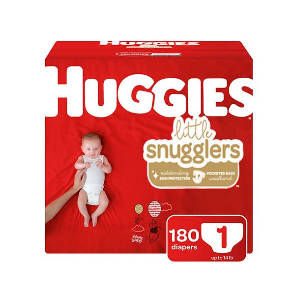 Pañales Huggies Little Snugglers, Talla 1. (180 Unidades)
