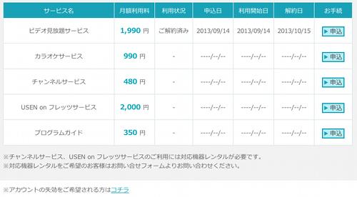 U-NEXT サービス手続き画面
