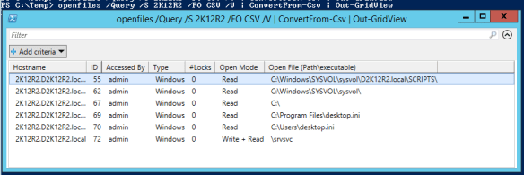 Get open files remote server - PowerShell