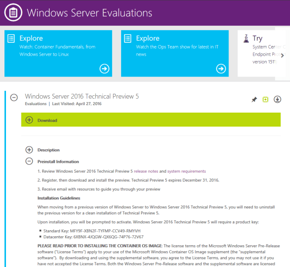 Useful Links Windows Server 2016 TP 5