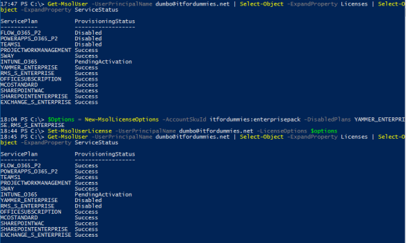 Office 365 License Option PowerShell - MSOL Set License Options