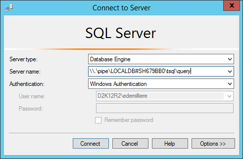 Manage LocalDB AAD Connect SQL Database - SSMS Connection