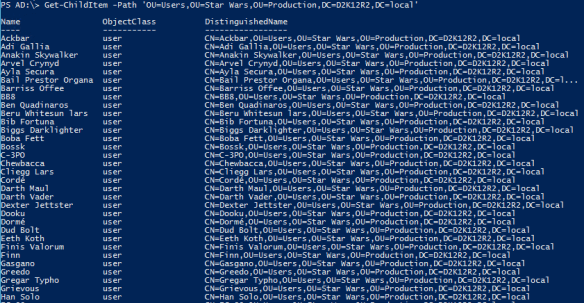 Active Directory PowerShell Module - List Users in OU