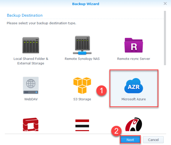 Backup Synology NAS Azure - Select Azure
