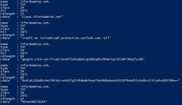 Get Public Dns Record Value PowerShell - API Answer Exemple with PowerShell