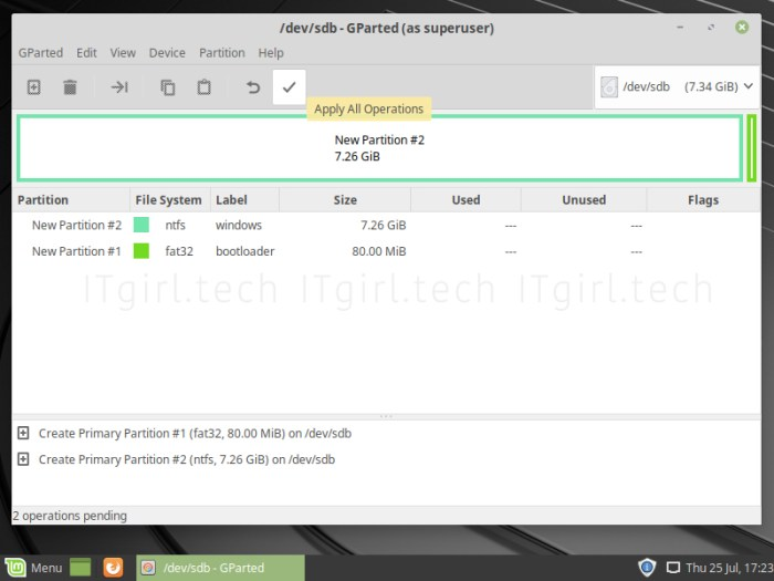 Using GParted to burn the Windows ISO file on Linux