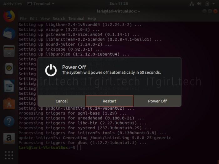 Powering off Ubuntu
