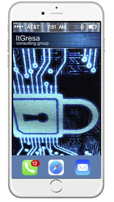 Apple iPhone with cybersecurity image showing on phone screen