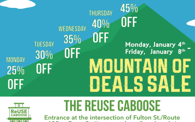 "Come Shop The ""Mountain"" of Deals Sale at The ReUse Caboose!"
