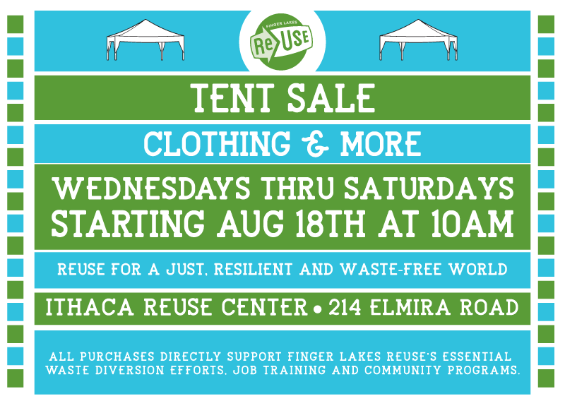 Tent Sale At Ithaca ReUse Center Wednesdays to Saturdays