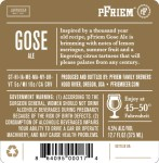 Pfriem Gose back label