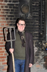 Looking sharp and holding a brewer's fork at Br. Caracole