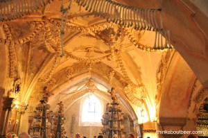 The main room in the Sedlec Ossuary/Bone Chapel in Kutna Hora