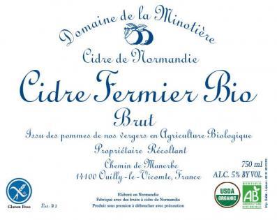 Minotière Cidre Fermier Bio Brut