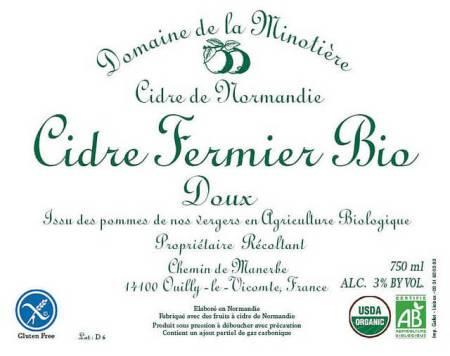 Minotière Cidre Fermier Bio Doux