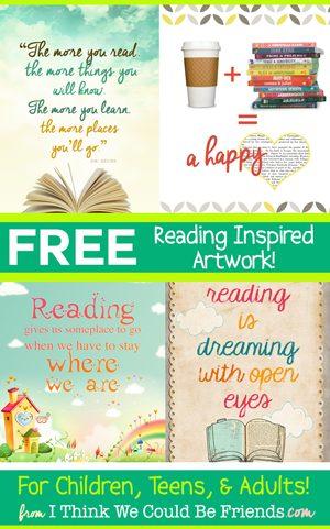 8 FREE Reading Inspired Art Prints!