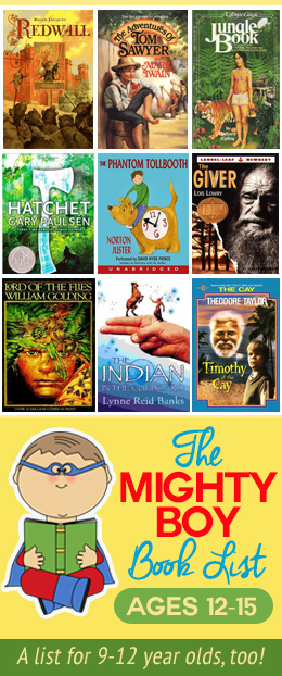 Raise boys that love to read! GREAT suggestions, plus lists for younger boys and girls, too! #book #list #reading #boys #tweens