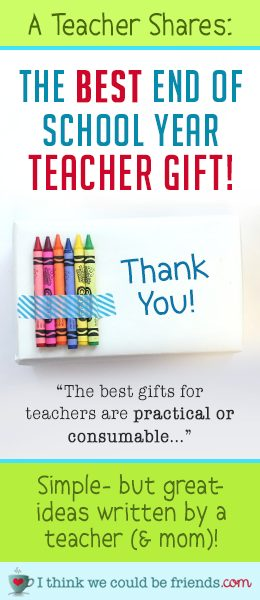 """End of year teacher gift ideas: Looking for the perfect gift to say """"thank you"""" to your child's teacher? Teacher (and mom) Beth shares EASY (& CHEAP) teacher gift ideas for preschool, kindergarten, elementary school and up (NO DIY or crafting supplies required! ;) #teacher #gift #ideas #end #of #school #year #DIY #easy #cheap #inexpensive #creative #thoughtful #elementary #middle #school #preschool"""
