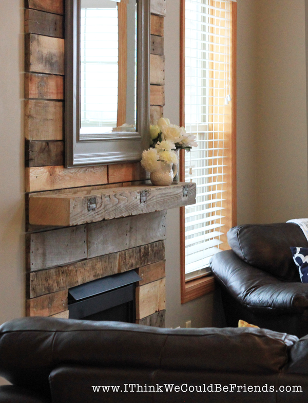 Palette Wood Fireplace Makeover-looks like re-claimed wood!
