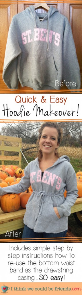 Proof that you can have school spirit AND a waistline! AWESOME idea for a DIY Hoodie Makeover