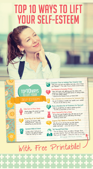 TOP Ten Ways to Boost your Self Esteem: This is great! LOVE the printable, put it somewhere you can see it everyday :)